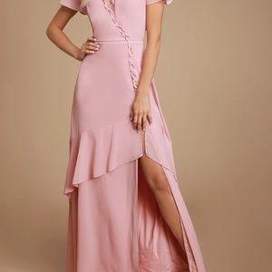Pink Ruffled Backless Maxi Dress